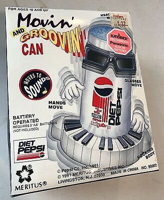 Vintage Meritus Movin' and Groovin Diet Pepsi Battery Operated Animated Can NEW