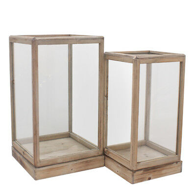 Set of 2 Timber and Glass Museum Display Boxes Vase Decoration H56cm