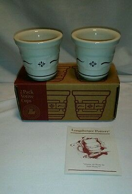 ☆ NEW Longaberger 2 Pack Votive Cups Classsic Blue # 35904 FREE SHIPPING