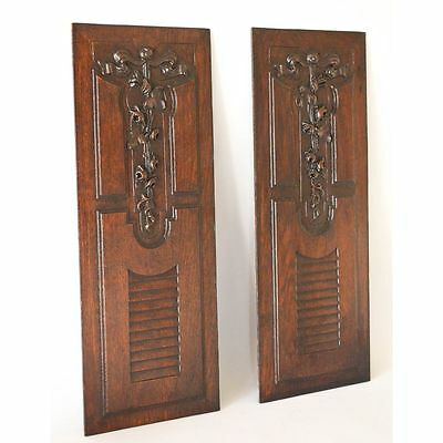 "Antique Pair 20"" French Louis XVI style Carved Oak Architectural Salvaged Panels"