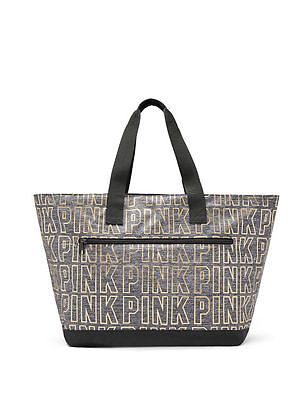 NWT Victoria's Secret PINK Tote Bag Dark Grey Marl & Metallic Gold  - LIMITED