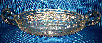 1914  Imperial Ohio Glass Clear Nucut #495 Stars Handled Oval Pickle Dish