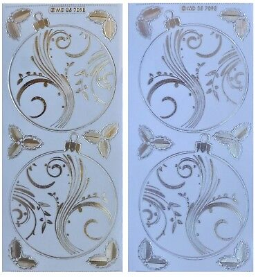 Embossed LARGE BAUBLES Peel Off Stickers Christmas Holly Gold or Silver on Clear