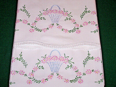 PAIR EXPERTLY EMBROIDERED PILLOWCASES, FLORAL BASKETS, LACE TRIM, c1930