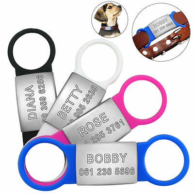 Personalized Slide-On Dog ID Tags Stainless Steel No Noise Pet Cat Collar Tags