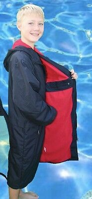 Swim Parka Wazsup Black with Red Size S  (deck coat, swim jacket, beach robe)