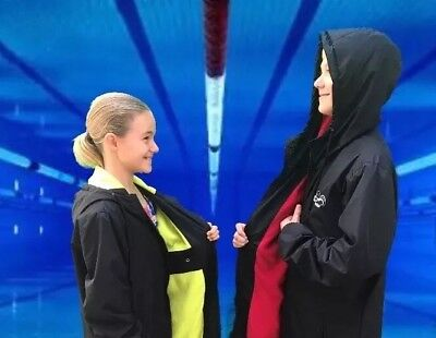 Swim Parka Wazsup Black with Red Size M (deck coat, swim jacket, beach robe)