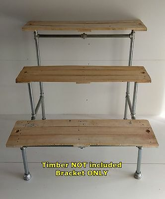 Industrial Pipe Display Shelf Stand Rack Unit Three 3 Tier Shelves Bracket DT40
