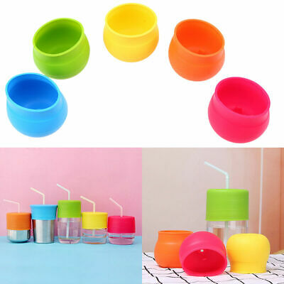 Silicone Sippy Cup Lid Straw Spill-Proof Cup Cover Toddler Baby Bottle Jar Safe