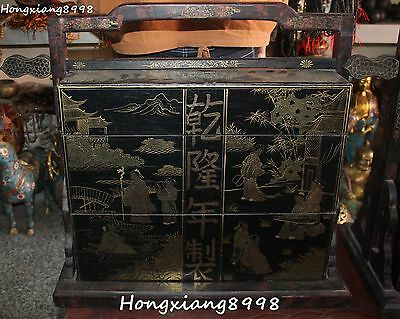 """28""""Old Chinese Wood Lacquerware People Belle Tongzi Cupboard Hamper Boxes Statue"""