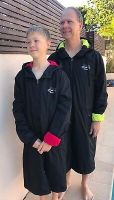 Swim Parka Wazsup Black with Lime Size M  (deck coat, swim jacket, beach robe)