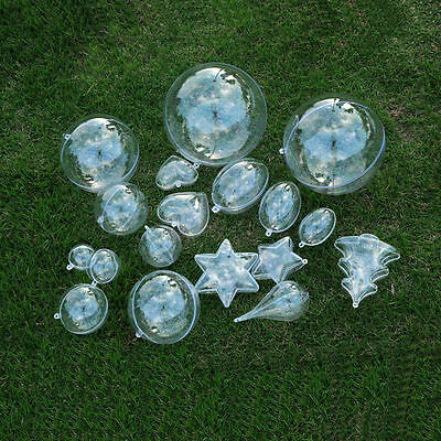Transparent Ball/Star Christmas Baubles Fillable Hanging Decoration Ornaments