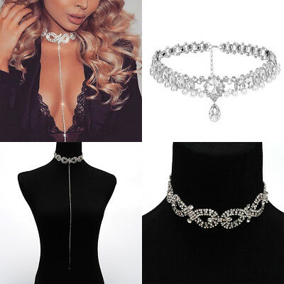 Silver Crystal Party Charm Bling Rhinestone Choker Diamond Layer Drop Necklace