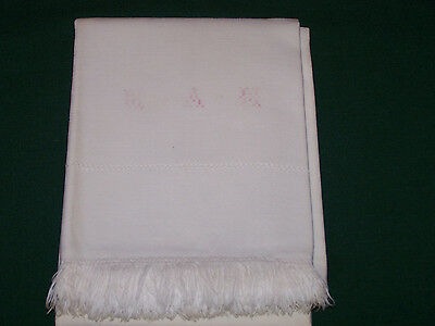 "ANTIQUE HOMESPUN LINEN PILLOWCASE, SELF FRINGE, MONOGRAM, ""MAH"", c1860"