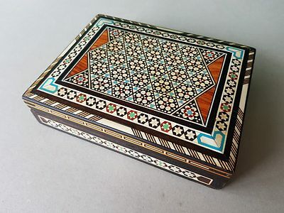 ORIGINAL Antique Quality Orient-Syrian Handmade Mosaic Inlay Wood Jewelry box