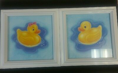 "2 set 8.5"" Rubber Duck Ducky Boy Girl White Picture Frame Baby Room Decor"