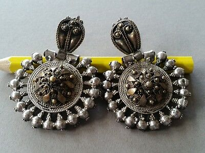 GORGEOUS UNIQUE jewelry! Antique Ottoman silver filigree earrings +gilding 19thC