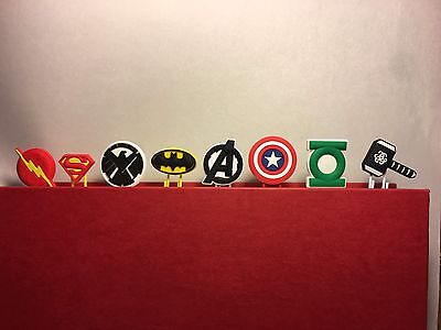 Avengers DC Marvel  Comics Page Markers Textbook Study Aid Bookmarks 8pc Gift