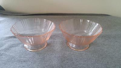 "4-1/4"" Footed Sherbets MacBeth Evans AMERICAN SWEETHEART Pink Depression Glass"