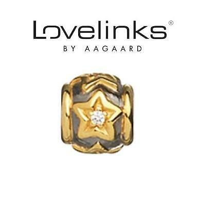 Genuine LOVELINKS sterling silver & gold plate LUCKY STARS charm bead, dreams