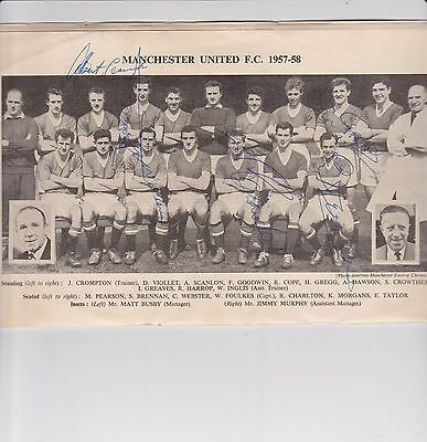 Manchester united V Bolton autographed Cup Final 1958 program 3 Bolton and 6 MU.