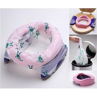 Potette Plus Portable Kids Travel Potty & Toilet Seat +3 Liners +Carry Bag PINK
