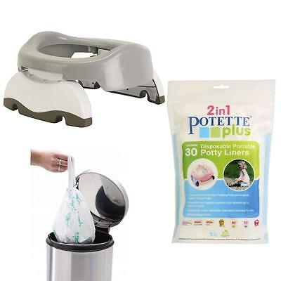 Potette Plus Folding Travel Potty & Toilet Seat + Carry Bag + 30 Pack Liner GREY
