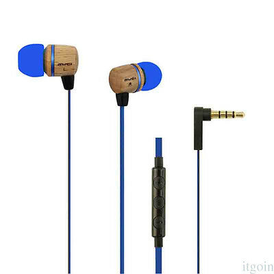 New Style 2 Color Control Headset Stereo Earphone Sandalwood Wire High-Fidelity