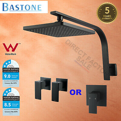 "WELS 8"" ABS Square Rainfall Shower Head Rose Brass Wall Gooseneck Arm Set Black"