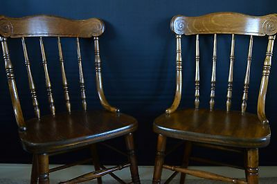 Vintage Oak Country House Chairs (Pair)