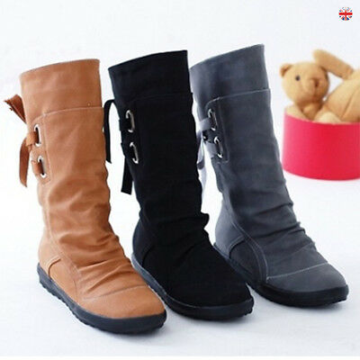 Women Mid Calf  Rouched Flat Pull On Kneel Long Ladies Slouch Casual Boots UK3-8