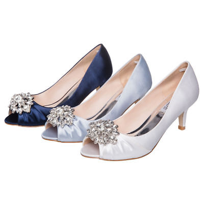 SheSole Womens Low Heels Rhinestone Wedding Prom Shoes Dress Pumps