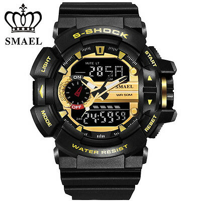SMAEL Brand Men Sport Watch Digital Dual Display LED Military Electronic Watches