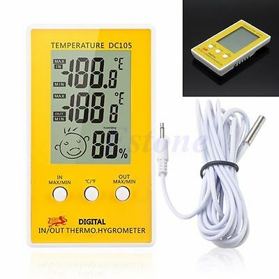 Digital LCD Humidity Thermometer Hygrometer Meter Probe Cable C/F Indoor Outdoor