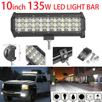 10Inch 135W CREE Led Light Bar Flood Beam Work Light 4WD Off-Road Driving Lamp