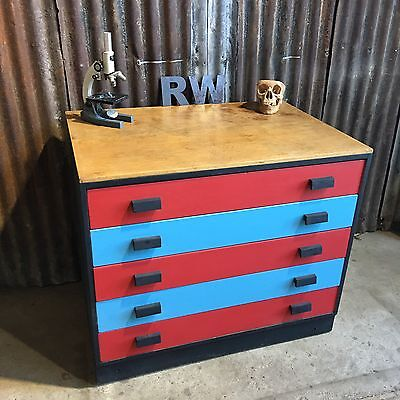 Retro Vintage Wooden Old School Art Drawers Craft Storage Pop