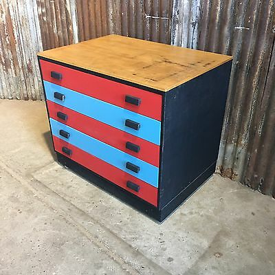 Retro Vintage Wooden Old School Art Drawers Craft Storage Pop B