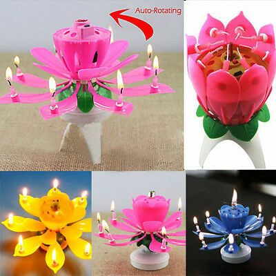 Amazing Magical Blossom Candle Lotus Light Birthday Musical Lamp Rotating Flower