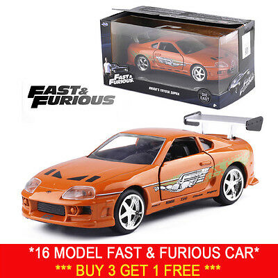 Jada 1:32 Fast And Furious Brian's Toyota Supra Orange Diecast Model Car Vehicle