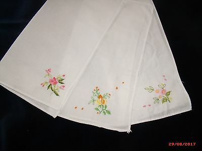 3 Vintage white cotton hankies embroidered with flowers