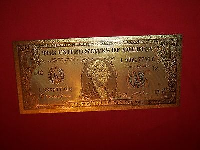 BEST PRICE Lot: 1 (one)  MINT 24k GOLD FOILED (PLATED) $1 NOVILTY BILL (new)