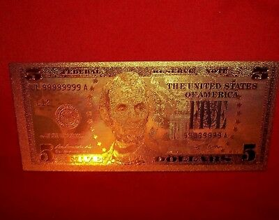 BEST PRICE Lot: 1 (one)  MINT 24k GOLD FOILED (PLATED) $5 NOVILTY BILL (new)