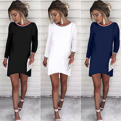 Women Casual Blouse Chiffon Long Sleeve Fashion T Shirt Loose Short Dress Tops