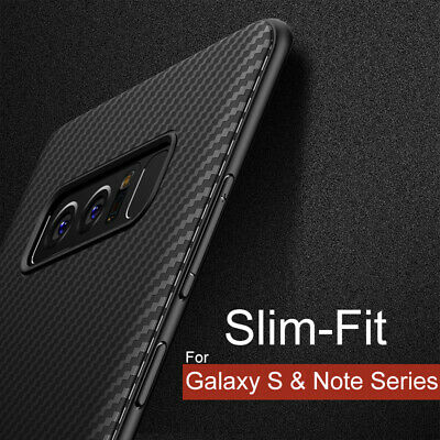 Samsung Galaxy Note9 8 S8 S9 S10 /Plus Case Cover,Slim-Fit Carbon Fiber Silicone