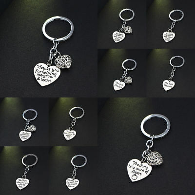 Hollow Heart Keyring Keychain Key Chain Jewelry Grateful Teacher Plant Seed Gift