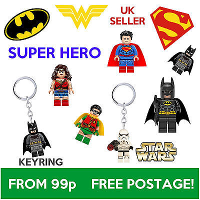 SUPER HERO star wars marvel DC batman tshirt Toy Mini Figure keyring fits Lego