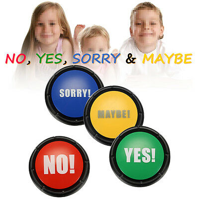 4Pcs/set 85db YES & NO & SORRY & MAYBE Sound Talking Button Event & Party Tools
