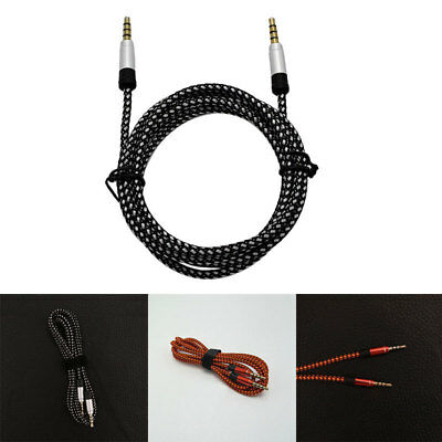 1.5m Braided Nylon 3.5mm Stereo Male To Male Car Aux Auxiliary Audio Cable Cord