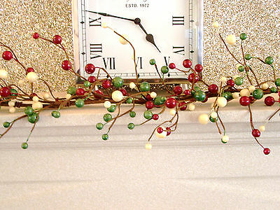 Luxury 1.5m Red White & Green Berry Christmas Garland Table Decoration Lit 5ft