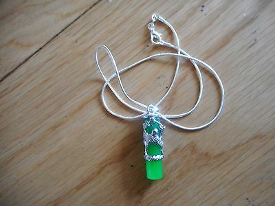 Jade Chinese dragon totem column pendant Silver With Necklace